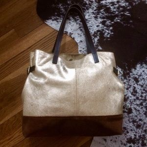 {Boden} large gold leather tote